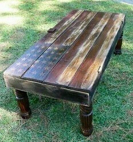 American Flag Pallet Top Bench Coffee Table