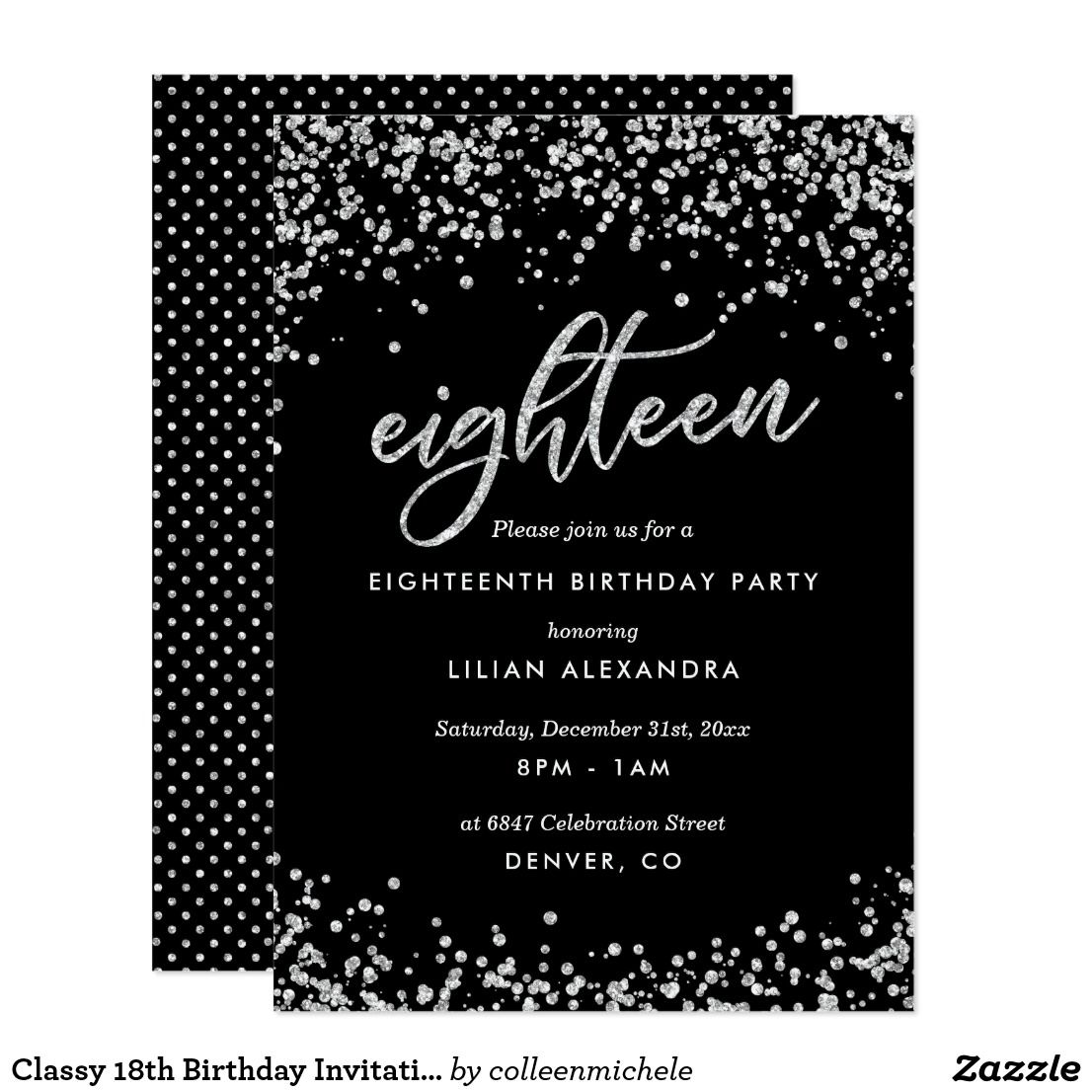 Classy 18th Birthday Invitation Sparkly Confetti Card
