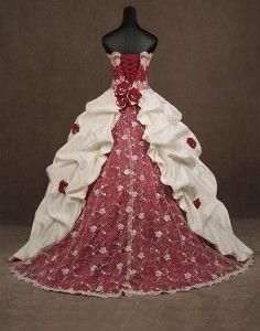 gothic corset red and white wedding dress | Corset Wedding Dresses ...