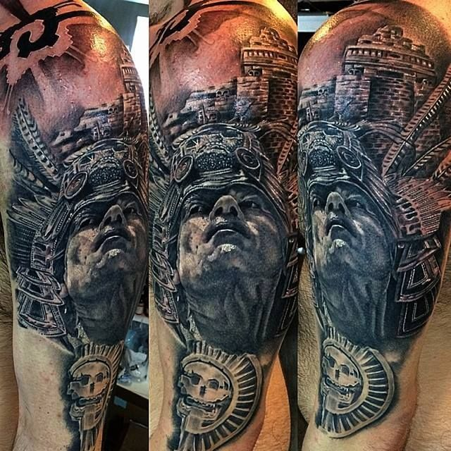 4d7bf28c0 A proud Aztec warrior in realistic black and grey style, also by Luis  Fernando Puedmag Vinueza.