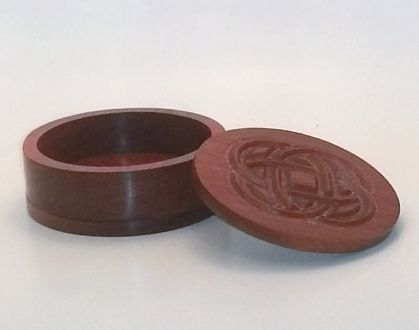 Round Trinket Box with Carved Celtic Knot Carved out of Mahogany