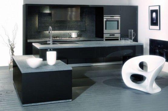 checkered black and white kitchen design: stunning black and white