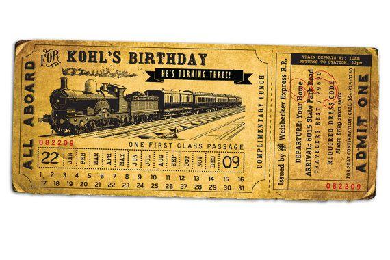 12 train ticket invitations ideas