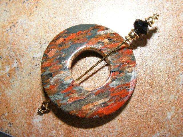 shawl pin, jasper