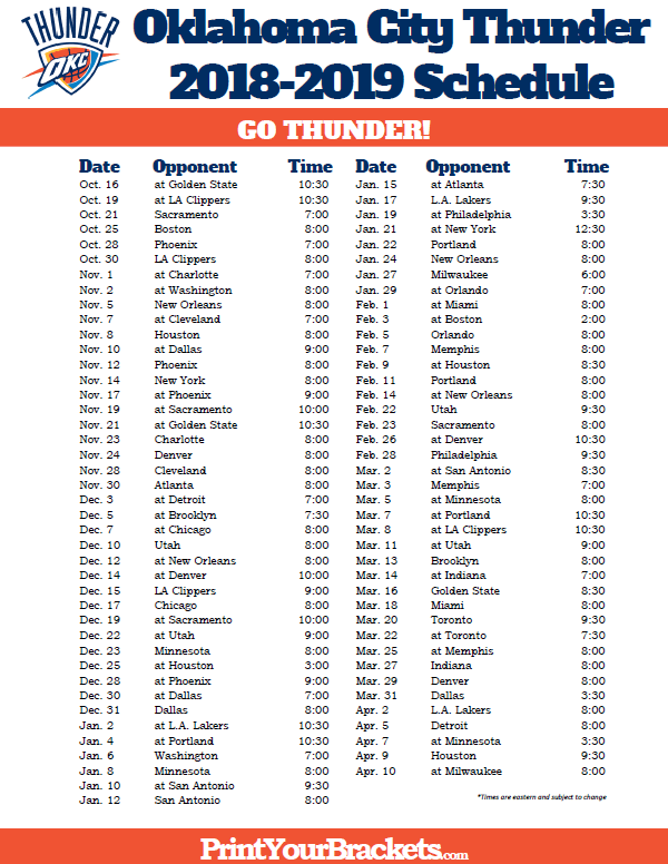 photo about Okc Thunder Printable Schedule named Printable 2018-2019 Oklahoma Metropolis Thunder Timetable