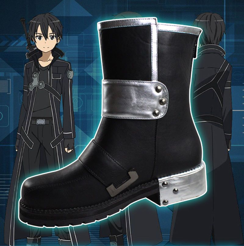 Sword Art Online Kazuto Kirigaya Kirito Kostüme Cosplay Shoes Schuhe Stiefel SAO