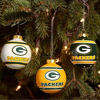 cheap trainer 215a6 50538 green bay packers 3 pk glass ball ornament set - Green Bay Packers Christmas Ornaments