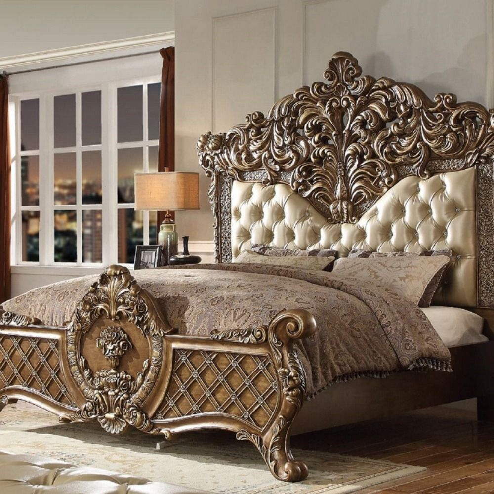 Brown Gold Tone Wood California King Bed By Homey Design 2 940 00