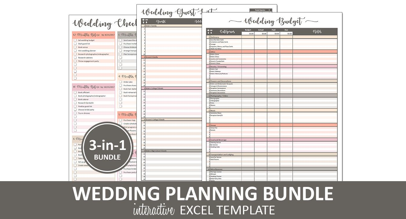 Peachy Wedding Bundle Excel Templates 3 In 1 Bundle Etsy Wedding Budget Spreadsheet Templates Wedding Budget Spreadsheet Wedding Planning Guide Wedding guest list spreadsheet excel