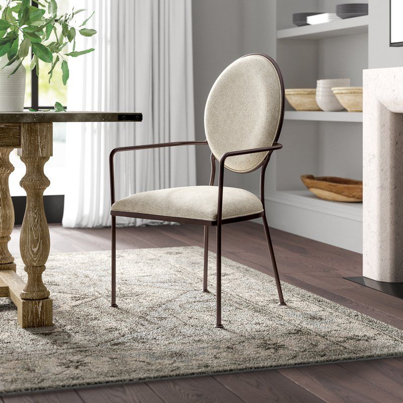 Cairo Linen Upholstered Arm Chair In Beige Dining Chairs Upholstered Arm Chair Solid Wood Dining Chairs