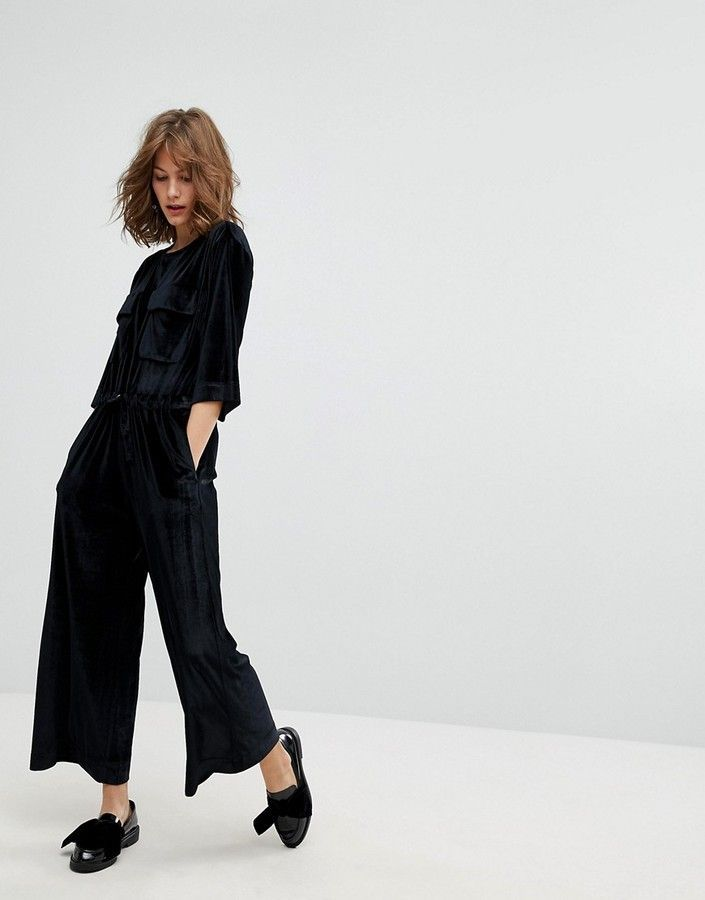 d44c64d6b9 If you are one of the girls who want to dress a simple style but to be cool  and stylish  …  Monki Pocket Front Velvet Jumpsuit ...