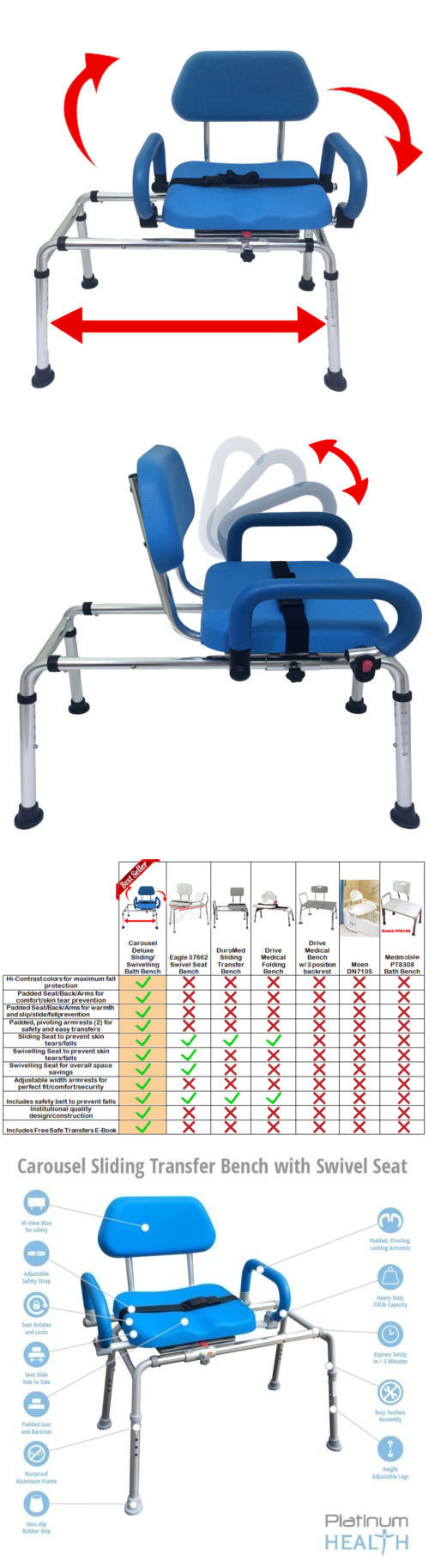 Transfer Boards and Benches: Carousel Sliding Transfer Bench Swivel ...