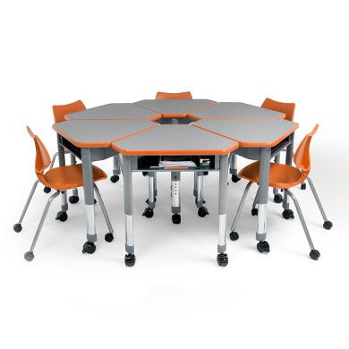 Classroom Table And Chairs modular desks with wheels that can be put in groups. chairs with