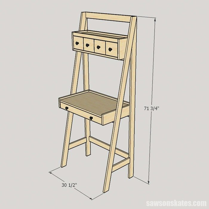 Diy Ladder Desk Is A Work And Storage Space Saver Diy Furniture Bedroom Diy Ladder Ladder Desk