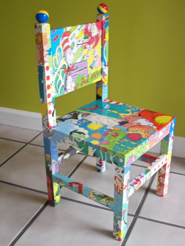 Dr. Seuss Decoupaged Wood Childu0027s Chair, Cat In The Hat, The Lorax,