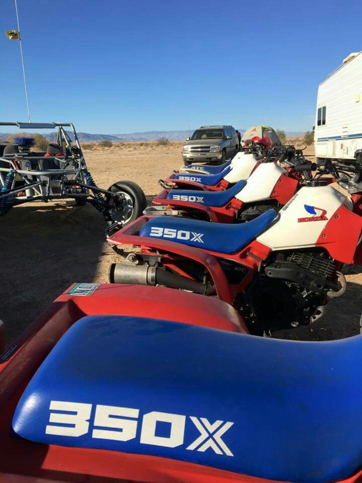 A row of 1985 Honda 350x trikes