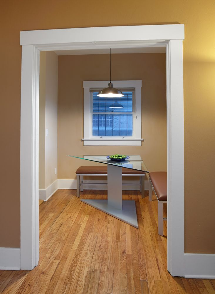 The Biggest Challenge In Designing This Dining Room Is That It S Tiny And It S A Pass Through From The Living Baseboard Styles Baseboard Trim White Baseboards