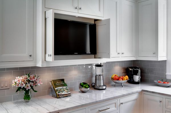 20 Awesome Flat Screen Tv Furniture In The Kitchen Home Design Lover Tv In Kitchen Traditional Kitchen Kitchen Tiles