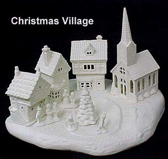 Scioto Christmas Village Complete Set In Ready To Paint Ceramic Bisqueapproximately 12 X 10incl Ready To Paint Ceramics Diy Christmas Village Christmas Village