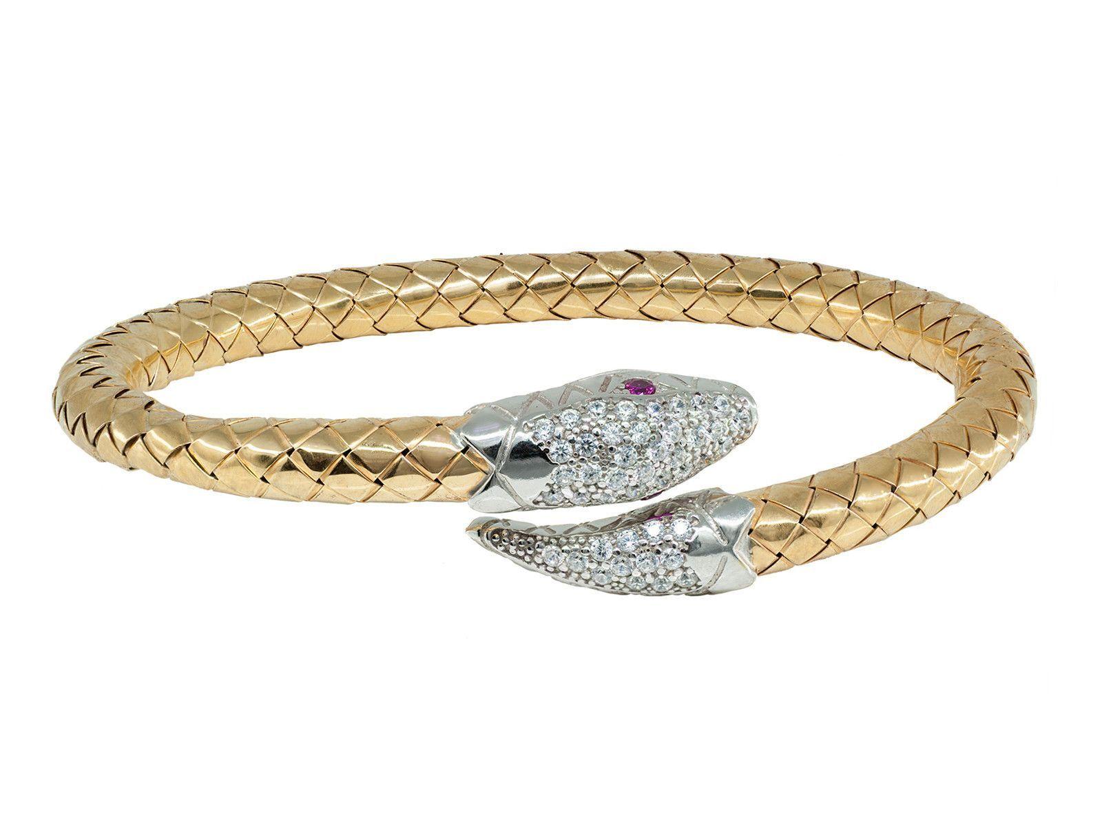 Thick spiga design cz snake head bangle bracelet felxible gold