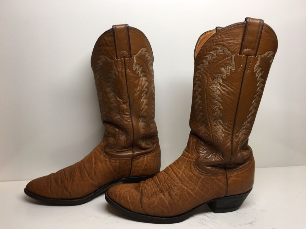 cba4be6730de VTG MENS JUSTIN COWBOY EXOTIC LEATHER DARK ORANGE BOOTS SIZE 8.5 D  fashion   clothing