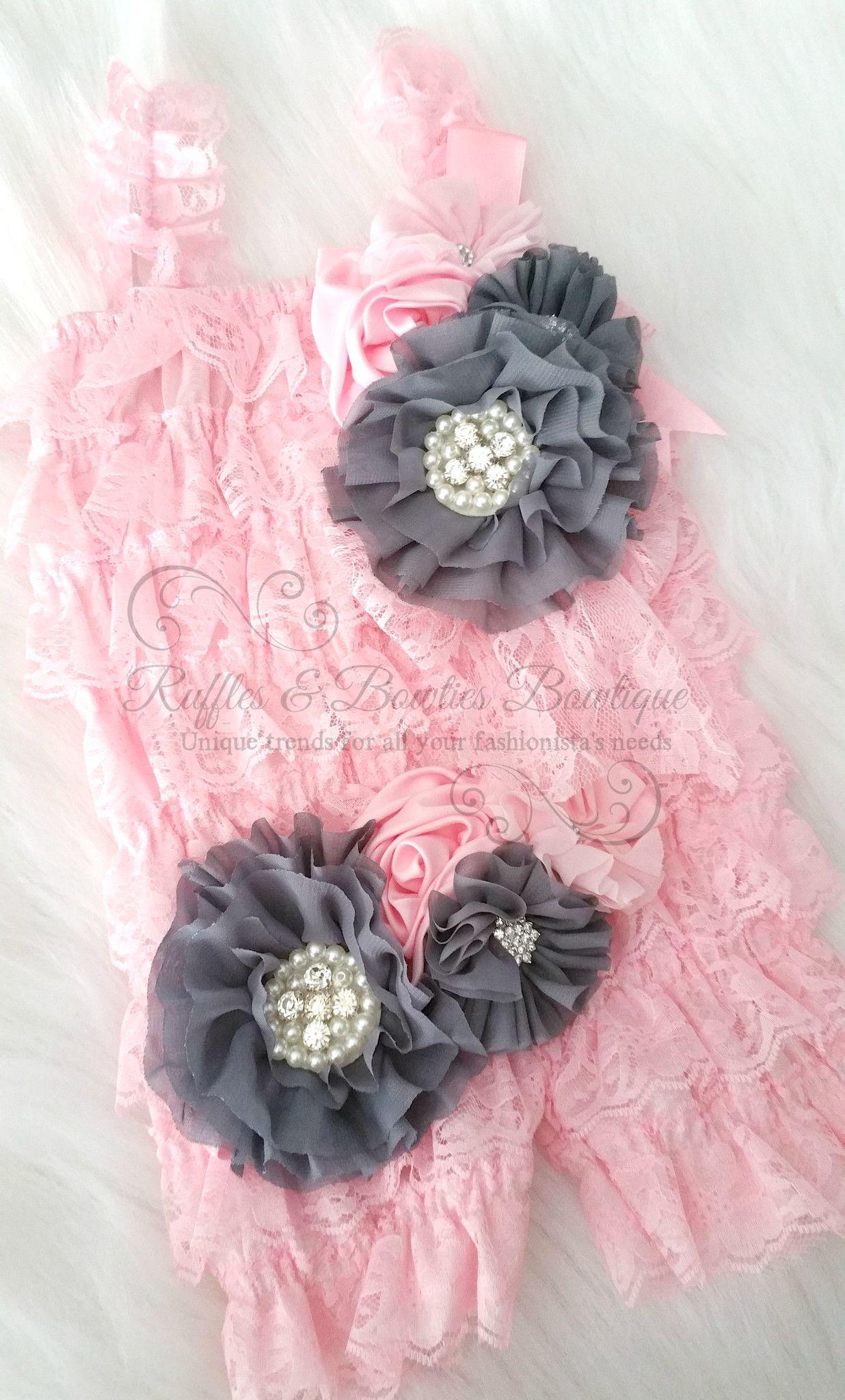 Grey Pink Headband Matching Pinclip Sash Rosettes Grey And