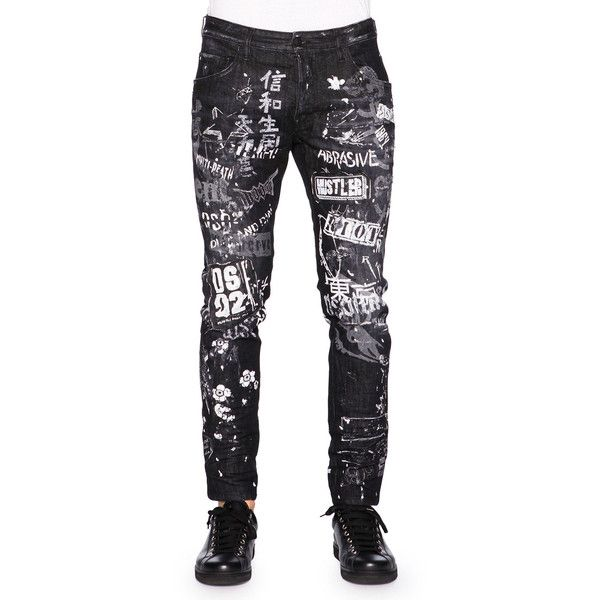 9e1c9ce034a7 Dsquared2 Graffiti-Print Skater Jeans ($885) ❤ liked on Polyvore featuring  men's fashion