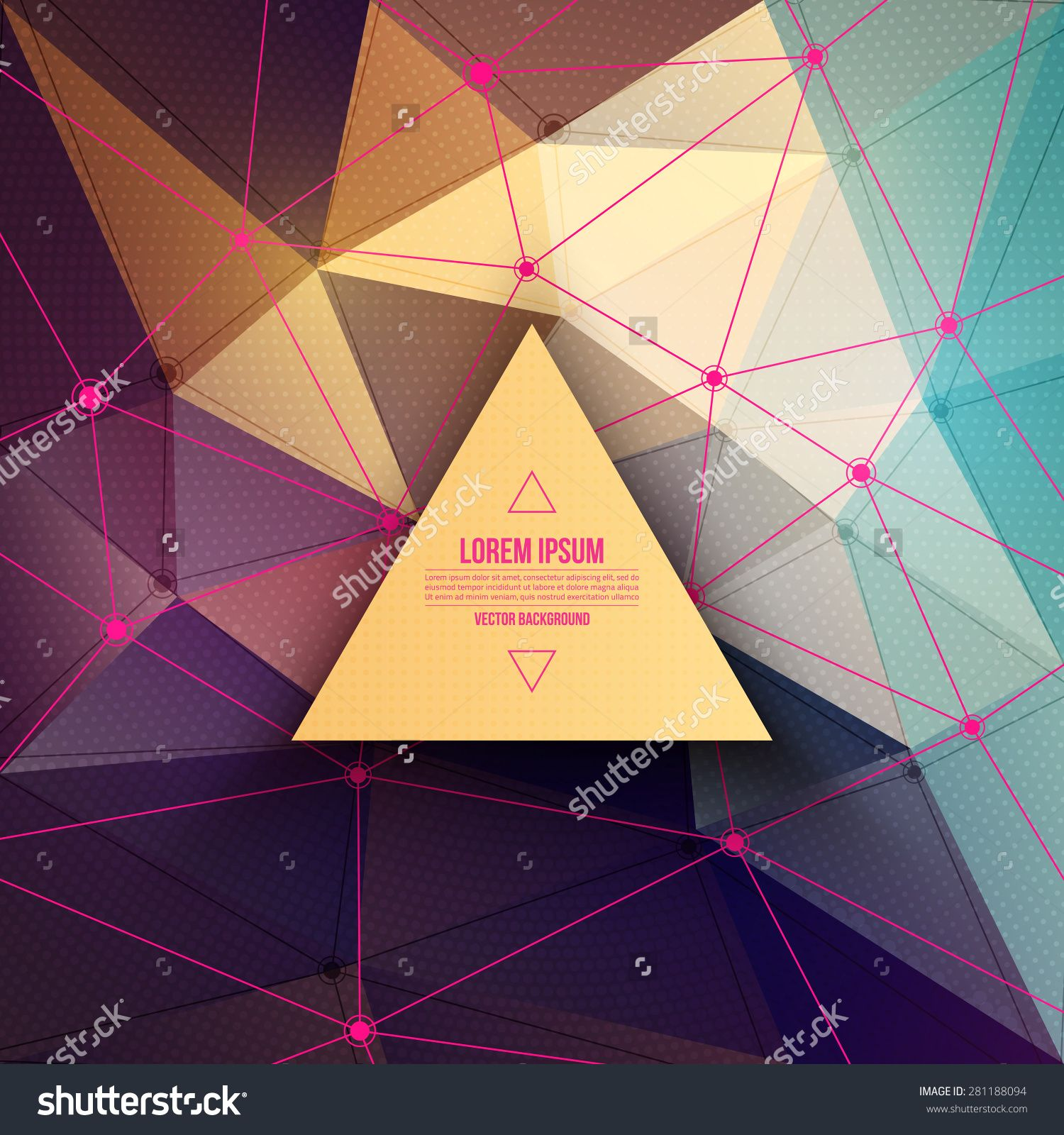 Abstract 3d Vector Technology Background With Triangle And