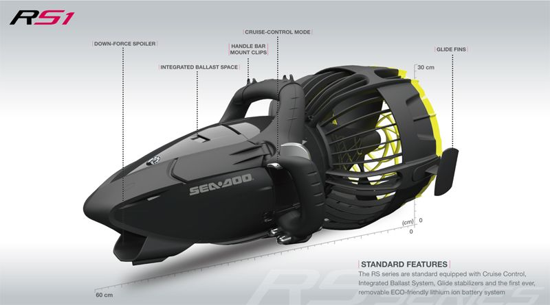 Rs series dive scooters from seadoo are the latest in fast for Dive scooter