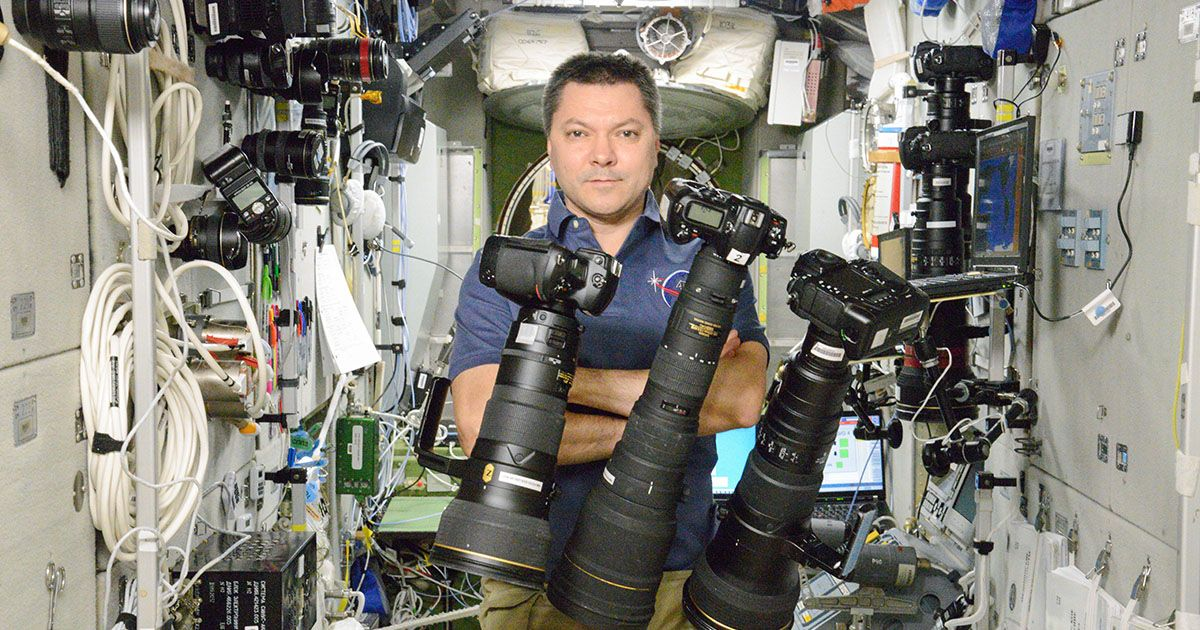 Here's a portrait of Russian cosmonaut Oleg Kononenko posing with Nikon DSLR gear on the International Space Station on October 6th, 2015. Tens of thousand