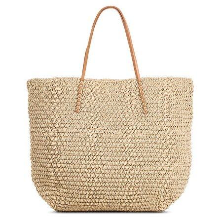 Women S Solid Packable Straw Tote Natural Merona Target