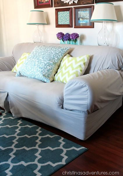 Instead of end tables...DIY Sofa Table - Christinas Adventures