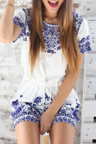 Trendy Round Neck Short Sleeve Great Wall Print Women's Blue and White Porcelain PlaysuitJumpsuits & Rompers | RoseGal.com