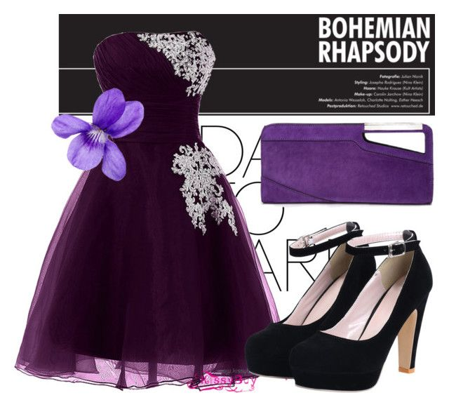 """"" by pen-adams ❤ liked on Polyvore featuring COSTUME NATIONAL, purple, Clutch, Flowers, shoes and makeup"