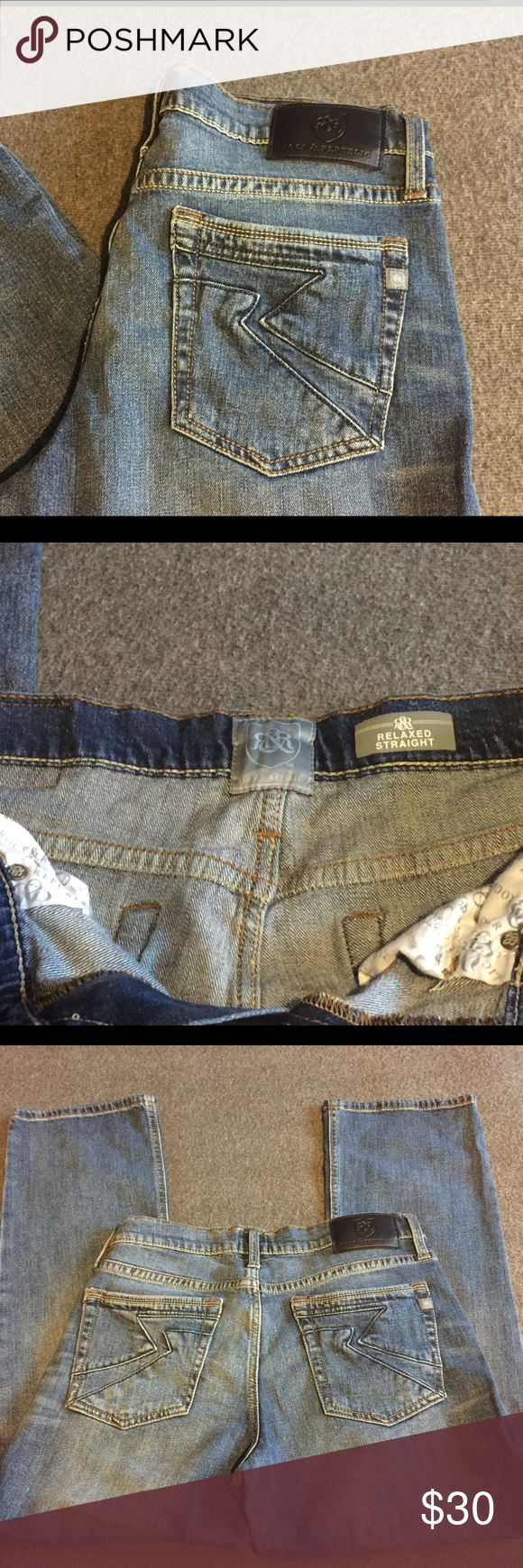 Rock & Republic Relaxed Straight GRADY 32x30 Great condition. Back pocket details. 98% Cotton, 2% Spandex. Rock & Republic Jeans Relaxed