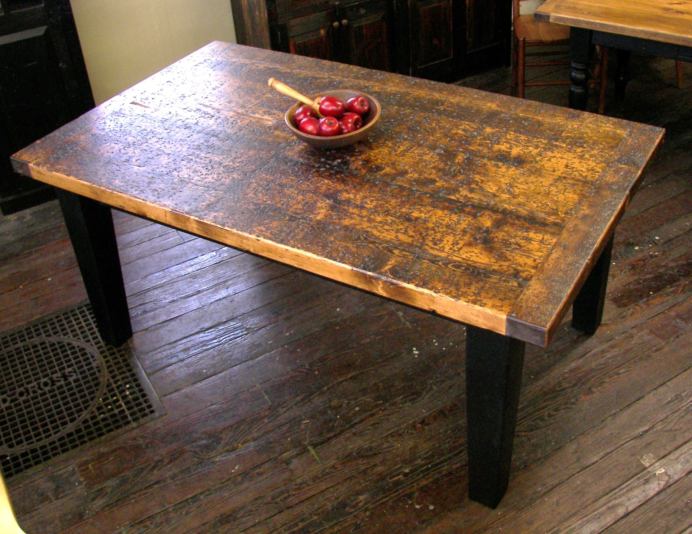 Distressed rustic barn wood table - 3\