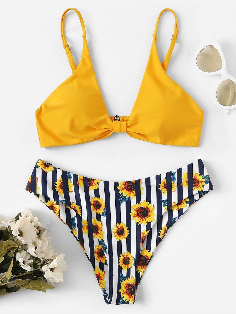 5cc5b24e4b Triangle Top With Flower Print Bikini Set -SHEIN(SHEINSIDE ...