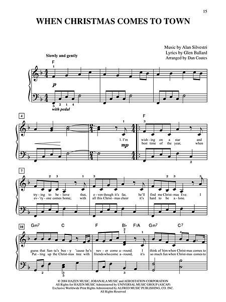 Piano Chords Polar Express When Christmas Comes To Town From The