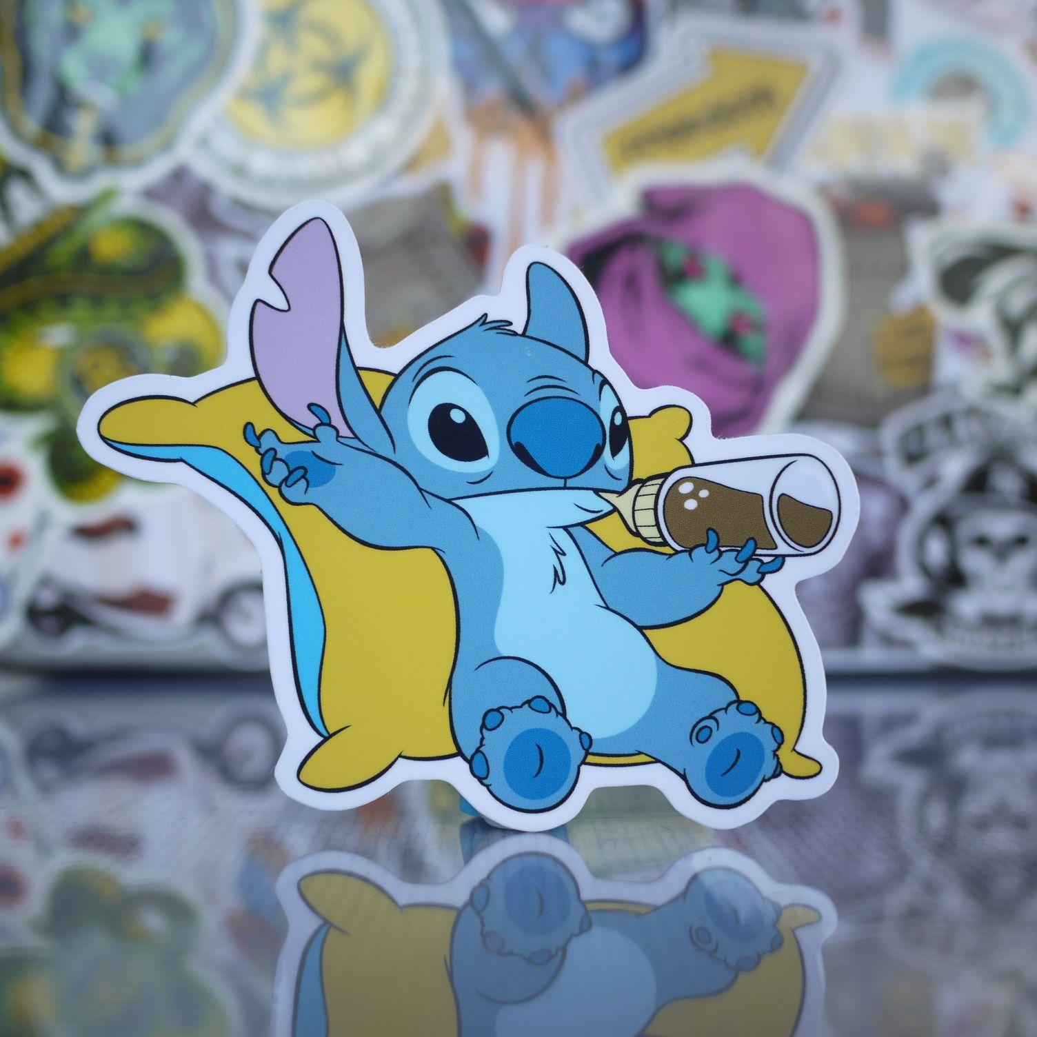 Stitch Relaxing Pose Sticker Skateboard stickers, Smurfs