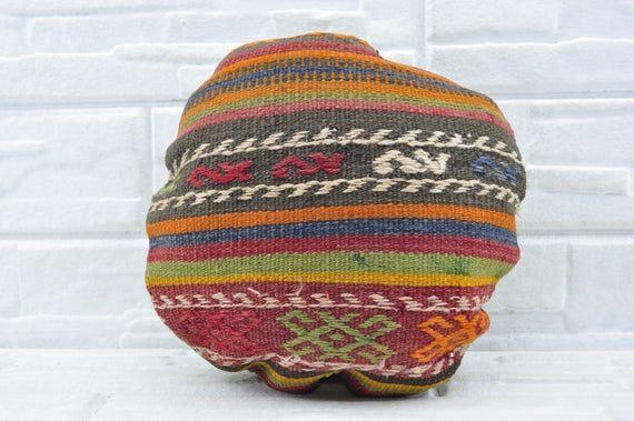 Circle  pillow 16x16  patterned  round  Pillow Turkish circle pillow Decorative round  pillow Kelim