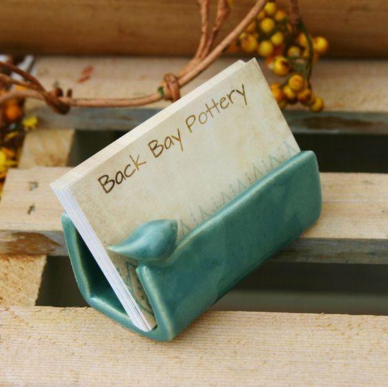 Blue Bird Ceramic Business Card Holder Via Etsy Pottery Business Card Holders Ceramics