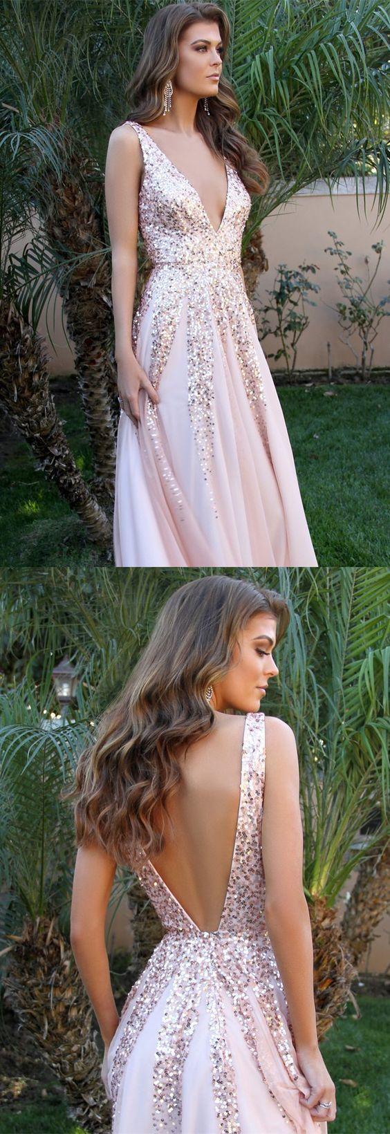 Gorgeous blush pink long prom dress sequins deep v neck evening