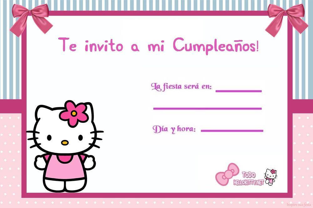 Invitacion Kitty Cumpleaños De Hello Kitty Invitaciones