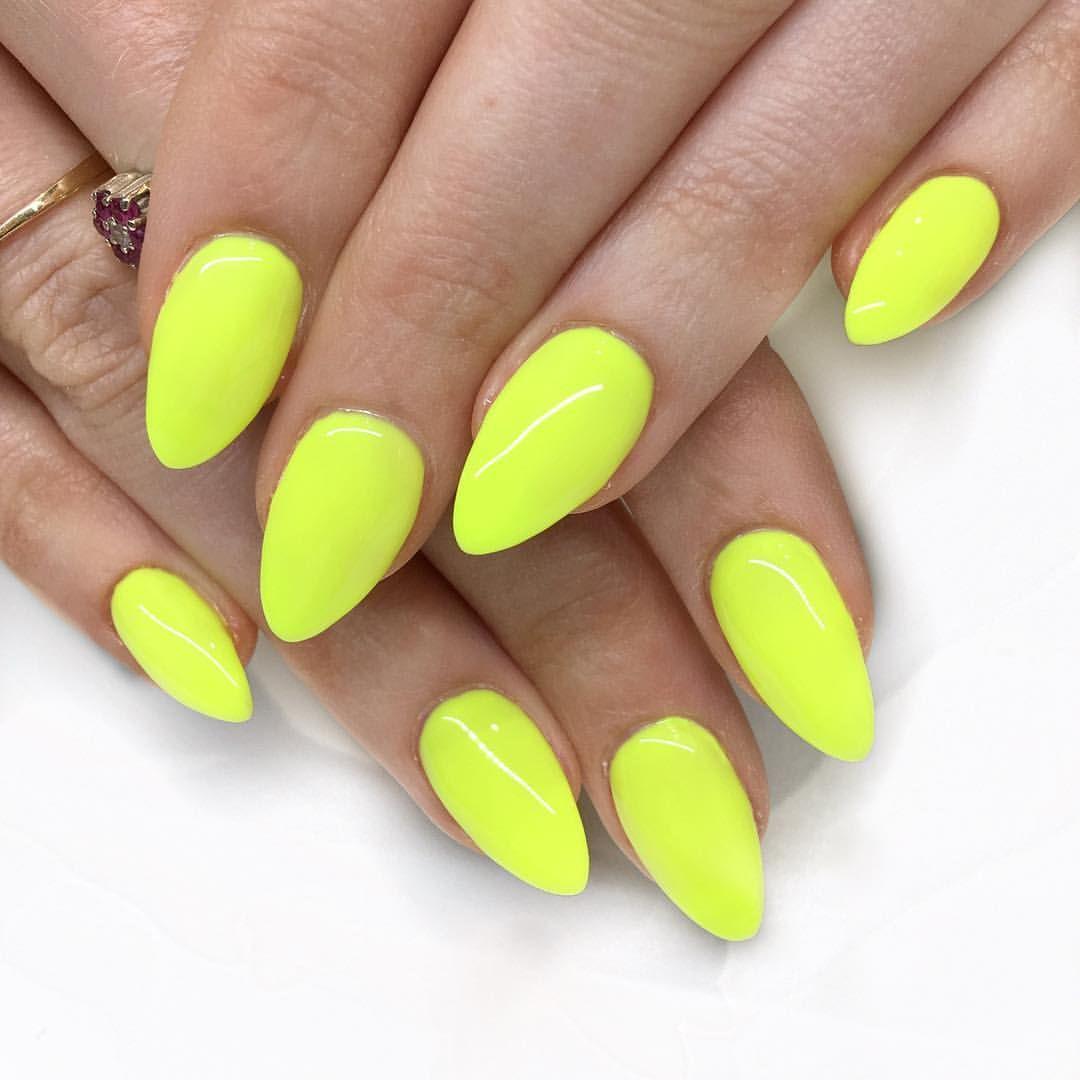 Neon Neonnails Yellownails Summernails Almond Nails One