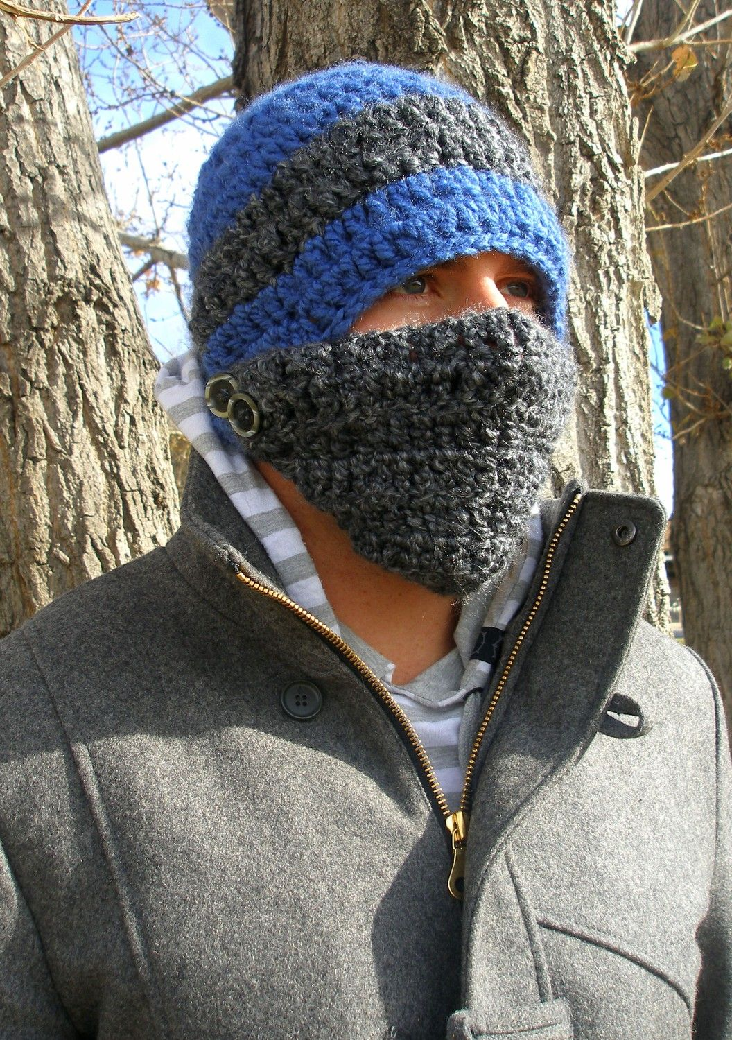 Crochet Button Face Mask Beanie I Need To Make One Of