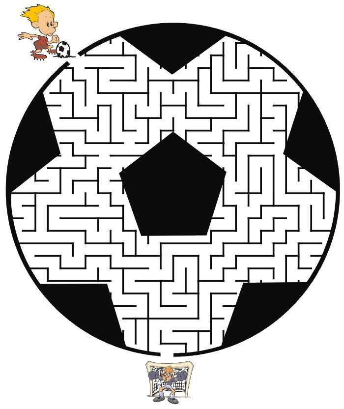 soccer maze guide the soccer player through the maze to find the goal mazes for kids. Black Bedroom Furniture Sets. Home Design Ideas