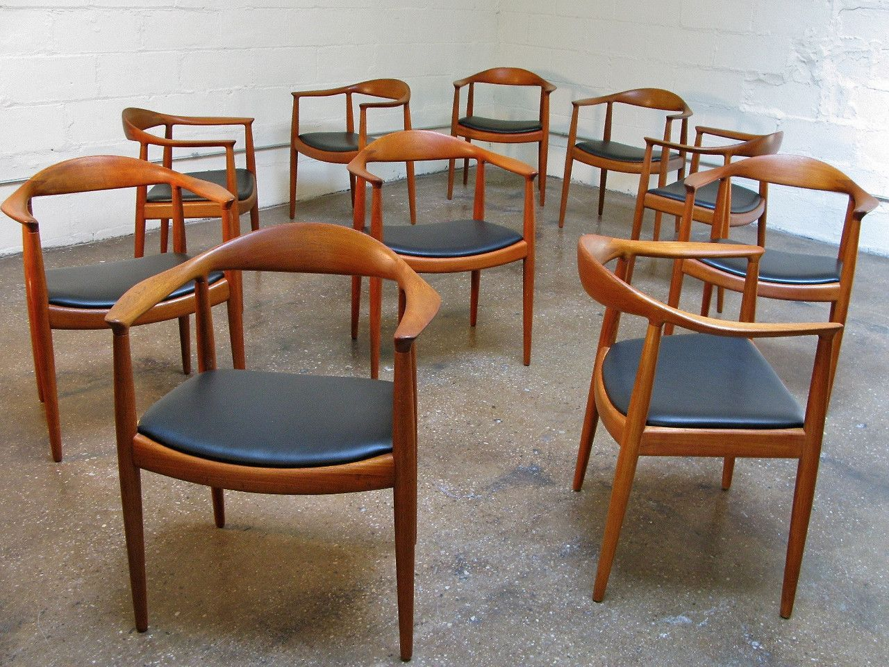Set of Ten Early Hans Wegner Round Chairs. eBay | Mid ...