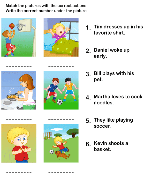 Free Printable Matching Worksheets for Kindergarten – Kindergarten Language Worksheets