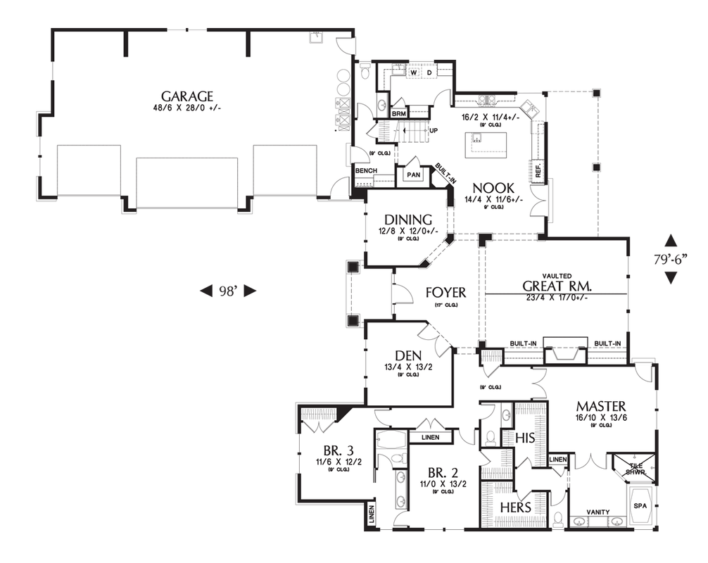 Main Floor Plan Of Mascord Plan 2377 The Pineville House Plans Floor Plans Craftsman House Plan