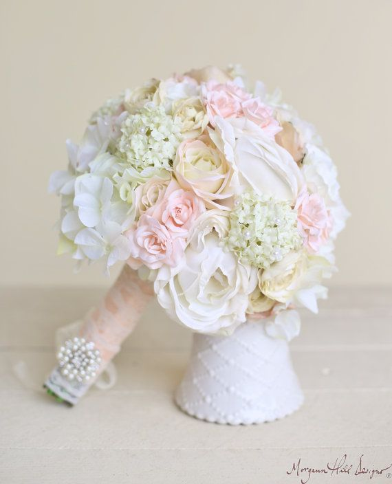 Silk Bride Bouquet Classic White Cream Pink by braggingbags, $115.00~ gorgeous silk wedding bouquet with a fine mix of pink, cream, and white silk flowers hand tied stems wrapped in light blush ribbon with ivory lace overlay. Simply stunning!
